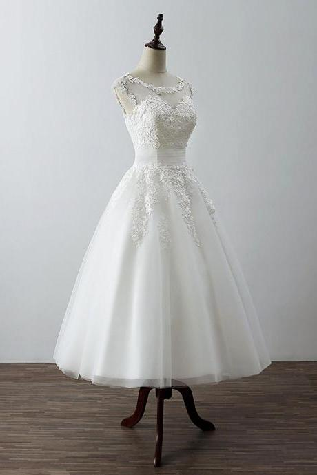 White Tea Length Ball Tulle with Lace Applique Party Dresses, Wedding Dresses,