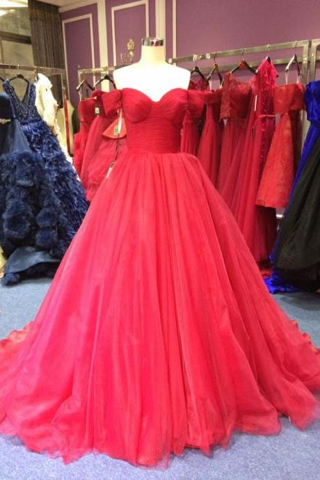Off Shoulder Sleeves Burgundy Wedding Dress,Ball Gown Burgundy Tulle Prom Dress