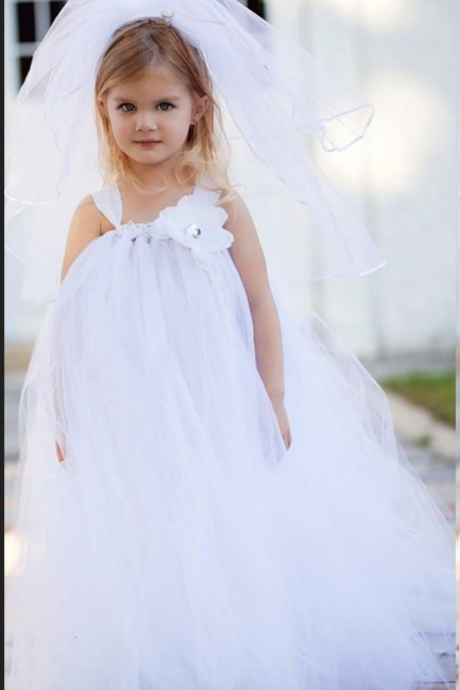Floor Length Flower Girl Dresses Children Birthday Dress Tulle Ball Gown Kids