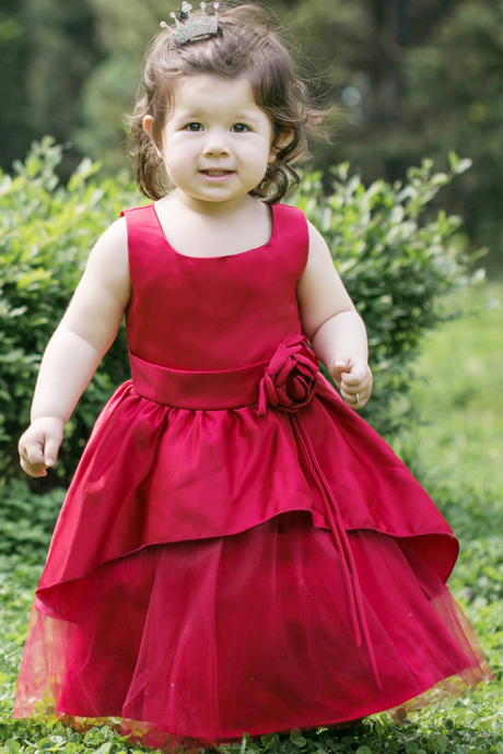 Red Graceful Little Princess Girls first Communion Dresses High Quality Flower Girl Dresses