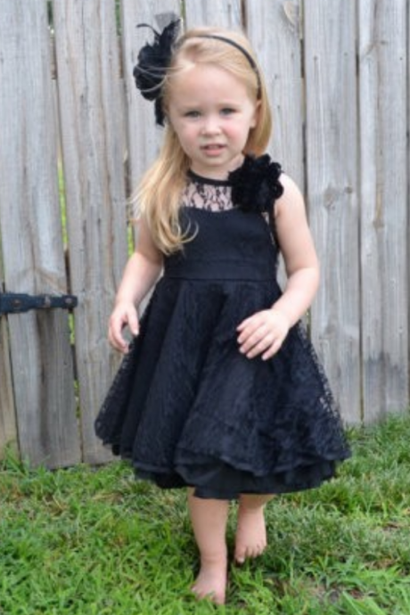 black flower girls dress v-back lace black kids flower girl dresses