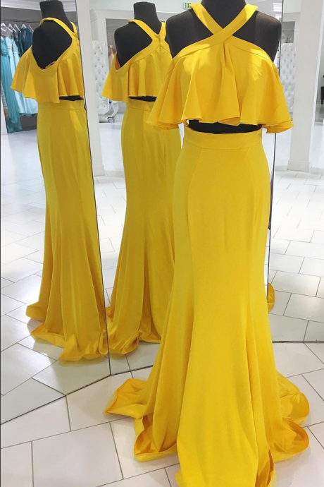 Two Piece Yellow Long Prom Dress with Ruffle,Prom Dresses,Evening Dress