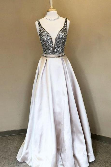 Sleeveless Plunging V Beaded A-line Floor-Length Prom Dress, Evening Dress Featuring V-Back