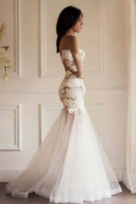 Sweetheart Mermaid Wedding Dress With Lace Bodice