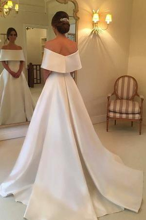 Off The Shoulder Long Satin Wedding Dresses, Elegant A Line Bridal Dress