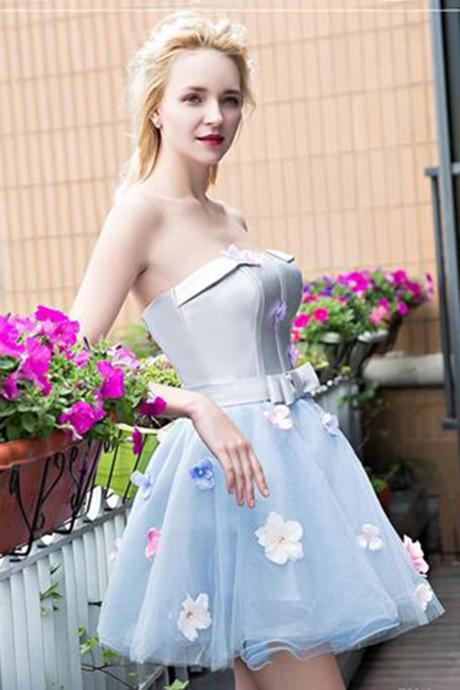 Sweetheart baby blue tulle strapless mini prom dress, short homecoming dress