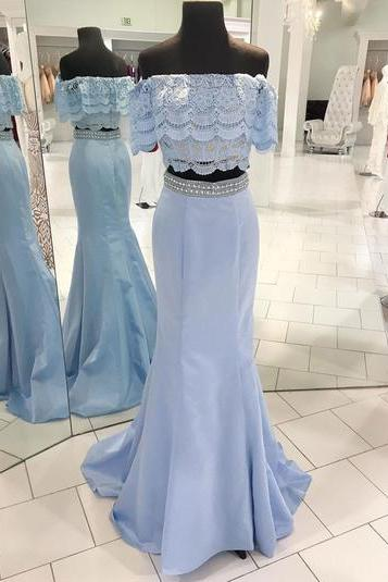 blue satin beaded two pieces long mermaid homecoming dress, long lace off shoulder party dress