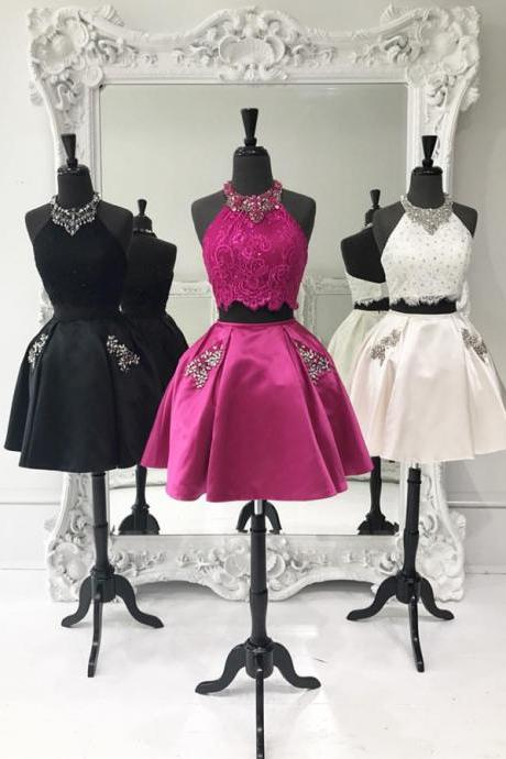 two piece homecoming dress,2 piece prom short dresses,elegant cocktail dress