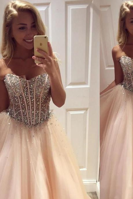 Crystals Beaded Sheer Tulle Bodice Sweetheart Ball Gown Prom Dresses 2018