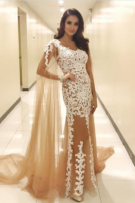 Lace Appliques Champagne Tulle Mermaid Evening Dresses Long with Shawl