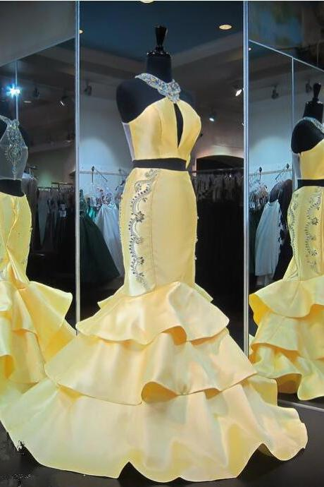 Yellow Evening Gown Mermaid Halter Yellow Ruffles Sleeveless Crystals Prom Dress