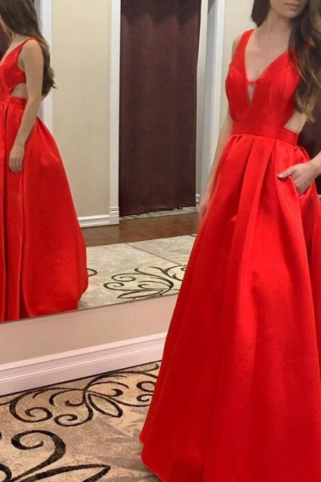Red Deep V-neck Backless Sweep Train Prom Dress with Pleats Pockets