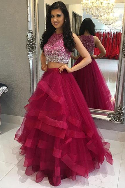 Two Piece Prom Dress,Burgundy Beading Sleeveless Prom Dress,Formal Evening Gowns