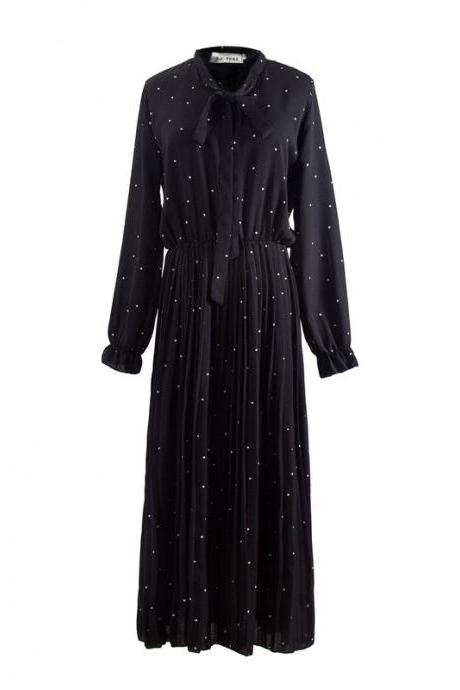High Quality Black Polka Dots Chiffon Maxi Dress