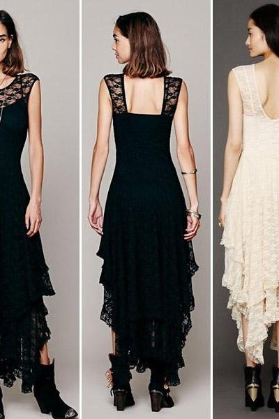 Sexy Lace Splicing Square Neck Back Asymmetric Dress (4 colors)