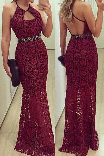 Open Back Lace Maxi Dress