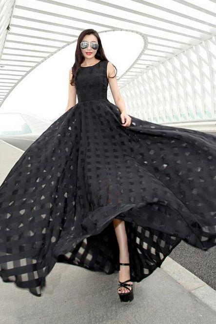 Classy Empire Waist Black Evening Dress