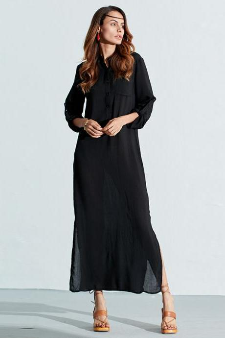 Black Casual Long Sleeve V Neck Shift Dress with Side Split