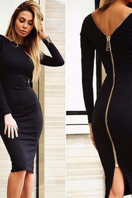 Bodycon Sheath Dress Little Black Long Sleeve Party Dresses