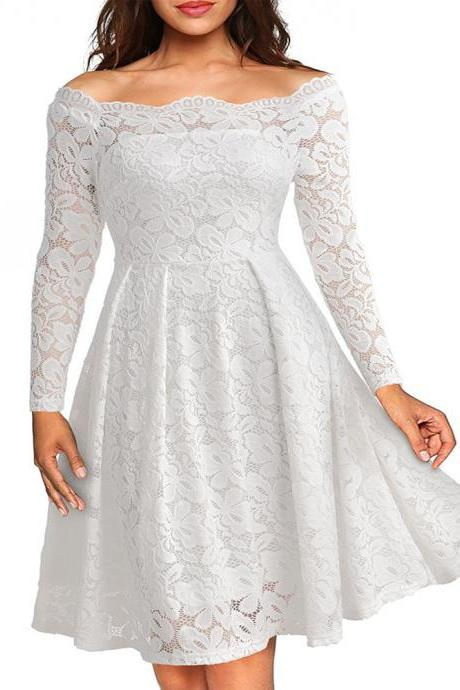 Vintage Lace Dress Women Off Shoulder Dresses Long Sleeve