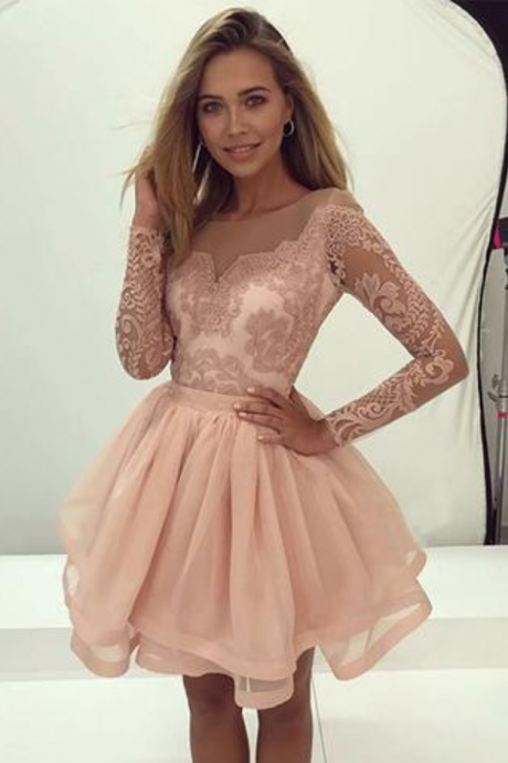 long sleeves A-line short homecoming prom dress