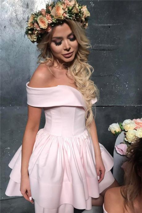 Off The Shoulder Graduation Dresses,Pink Short Homecoming Dresses,Lovely Mini Formal Party Dress