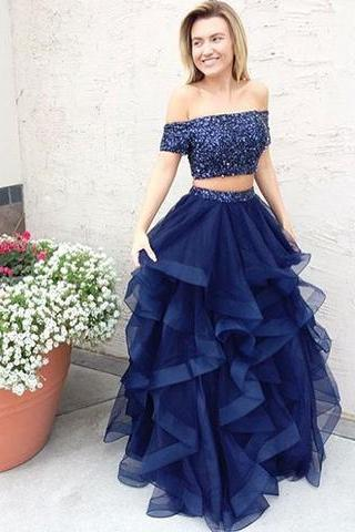 Navy Prom Dresses,Off The Shoulder Prom Dress,Beading Evening Gowns,Two Piece Prom Dress