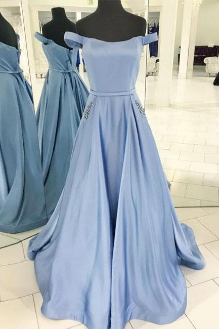 Simple Off Shoulder Light Blue Satin Prom Dress with Beaded Pockets,Blue Evening Dresses