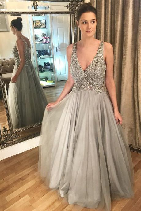 Sexy V Neck Tulle Crystal Beaded Prom Dresses, Long Evening Dress,
