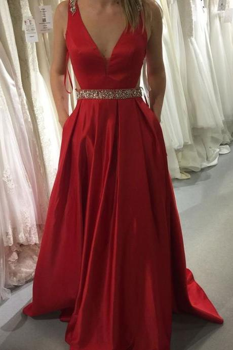 Red A-line V-neck Satin Prom Dresses,Long Beaded Prom Dress with Pockets