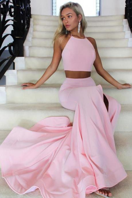 Two Piece Pink Long Prom Dress with Slit,Mermaid Prom Dress