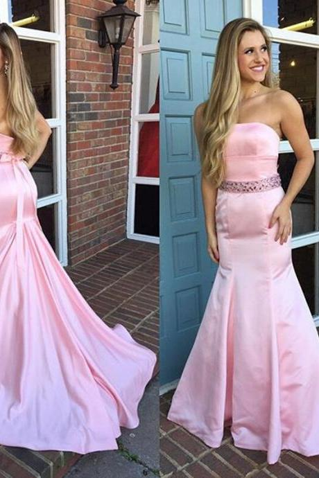 Pink Prom Dresses,Mermaid Prom Dress,Long Evening Dress