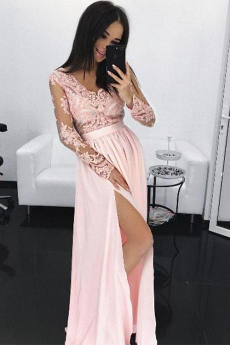 Chiffon Prom Dress,Sexy V Neck Prom Dress, See Through Prom Party Dress