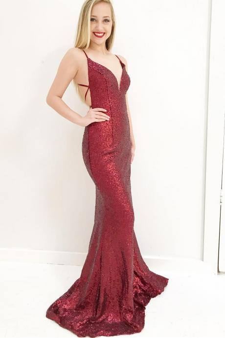 Mermaid Red Sequins Long Prom Dress with Cross Back