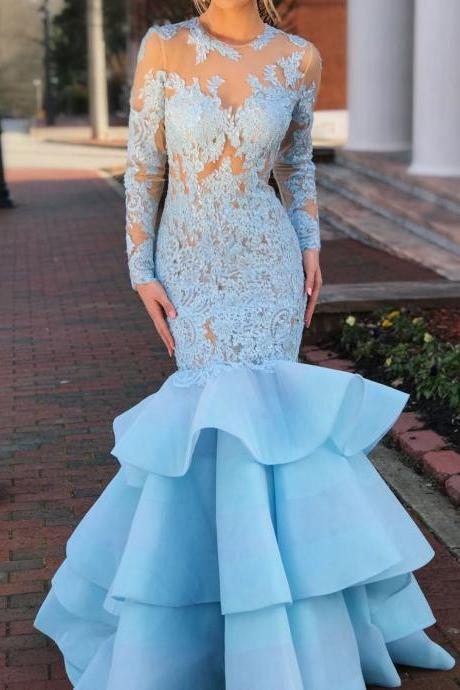 Sky Blue Long Sleeve Prom Dresses Lace Tiered Mermaid Bodycon Formal Evening Gowns