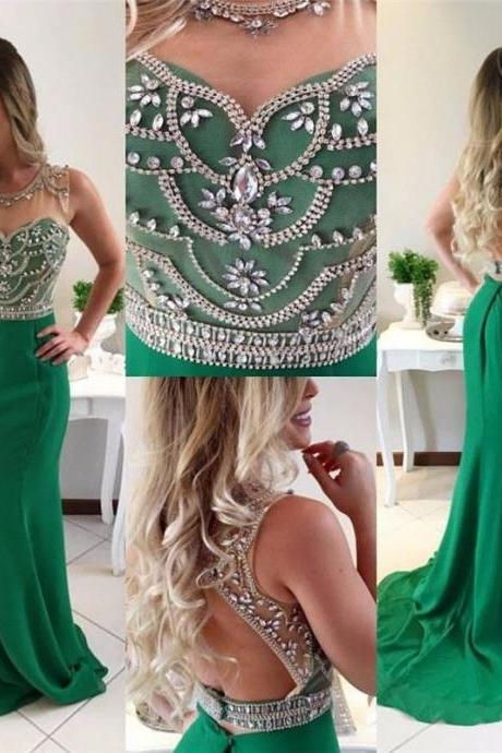 Beading Rhinestones Mermaid Prom Party Gown2018 Custom Made Chiffon Long Prom Dresse