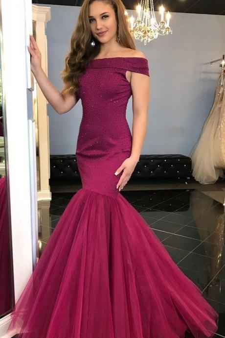 Off the Shoulder Prom Dress,Mermaid Prom Dress,Crystal Beaded Prom Dress