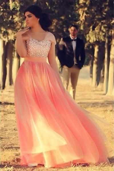 Pink Off The Shoulder Floor Length Tulle A Line Prom Evening Dress
