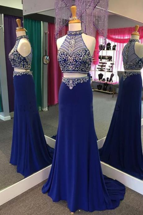Navy blue chiffon prom dress two pieces beading prom dresses see-through halter train long dresses