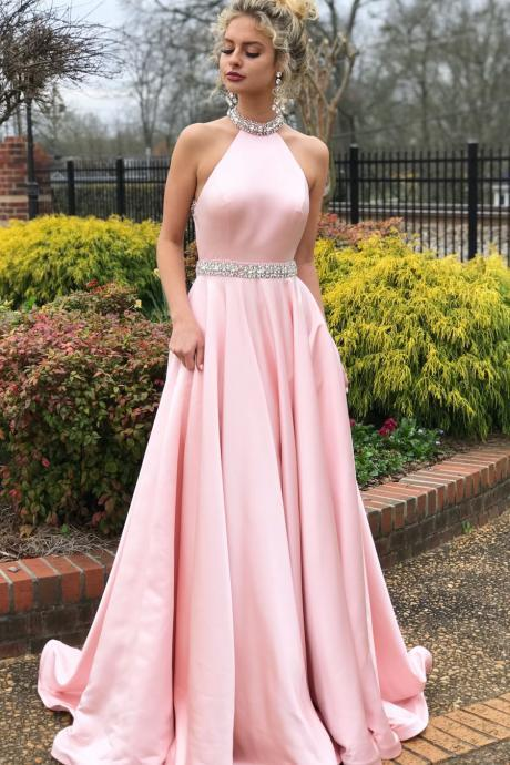 Beaded Pink Long Prom Dress with Open Back ,Evening Gown,Prom Dresses