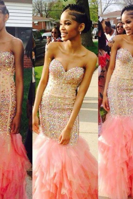 Mermaid Evening Dresses Sweetheart Sleeveless Crystals Long Prom Party Gowns