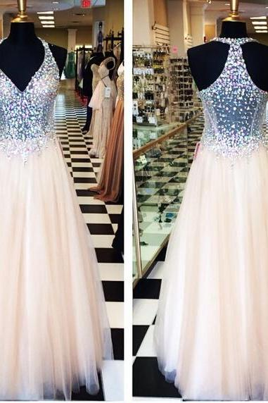 Light Pink Ball Gown Tulle Prom Dresses Halter Beading Crystals Evening Dresses Party Gowns