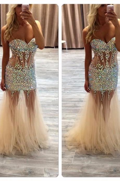 Long Evening Dress, Mermaid Tulle Evening Dresses,Formal Gowns