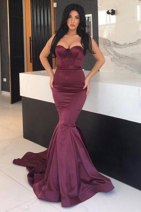 Burgundy Mermaid Evening Dress 2017 Elastic Satin Sexy Sweetheart Beaded Crystals African Evening Dresses