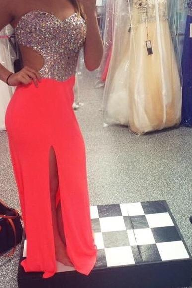 A Line Chiffon Evening Dresses Sweetheart Beading Crystals Side Slit Prom Dresses