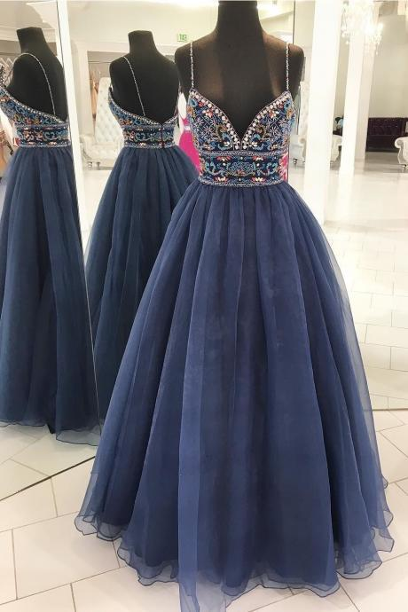 Spaghetti Strap Sweetheart Evening Long Prom Dresses