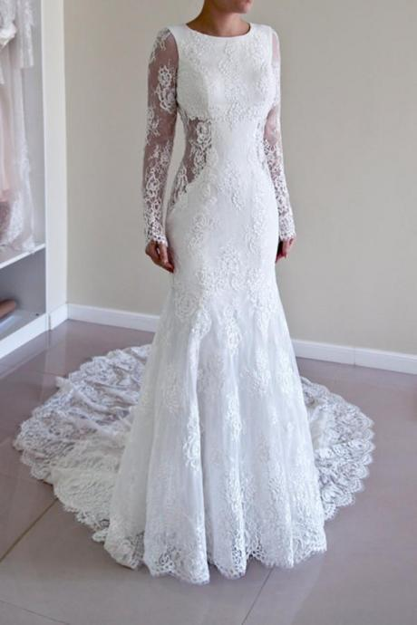 High Quality Scoop Open Back Mermaid Wedding Dress with Long Sleeves