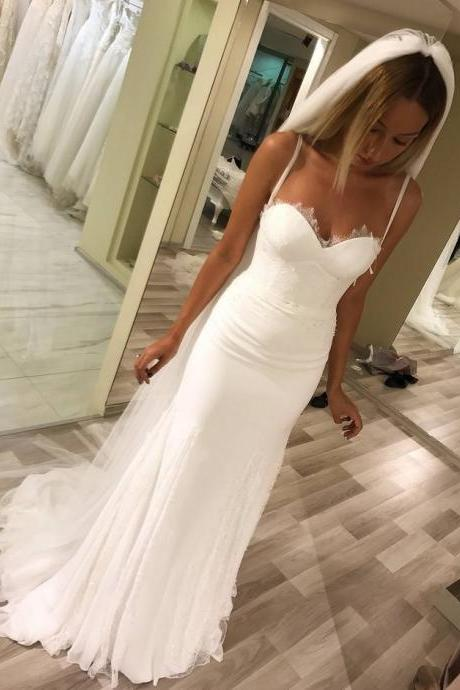 Mermaid Wedding Dresses,Spaghetti Straps Wedding Dresses