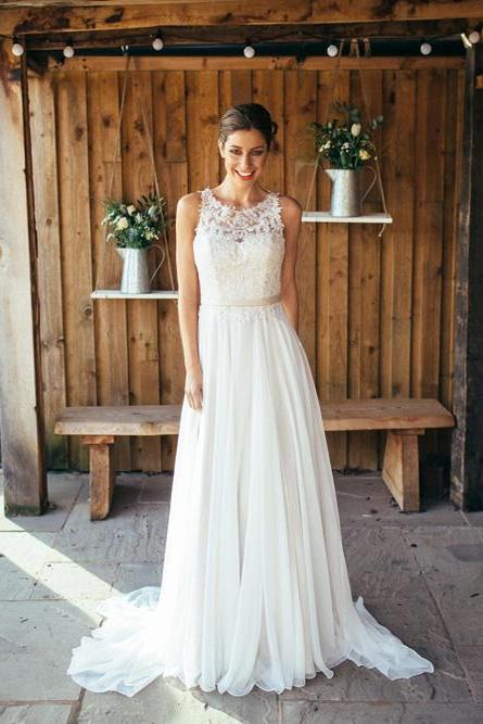 Beach Wedding Dresses,Sheer Neck Wedding Dresses,See Through Back Wedding Dresses