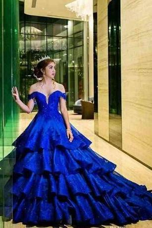 Royal Blue Beaded Lace Appliques Satin Wedding Gown Fashion Middle-East Pretty Bridal Dress
